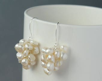 Closing sale White freshwater pearls,  wire wrapped, silver plated, mini cluster earrings. E0001SP