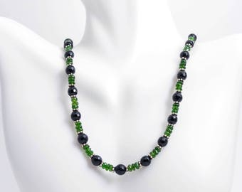 Chrome Diopside with Black Onyx Beaded Necklace - Chrome Diopside Necklace - Black Onyx Necklace - Green Diopside Necklace