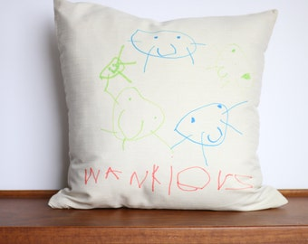 CUSTOM Drawn Pillow Cover | Child's drawing | Grandparent Gift | Personalized Home Decor | Custom handwriting | Mother's Day | Child Art