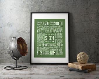 Soccer Print 8x10 Soccer Typography Print Soccer Poster Soccer Gift Soccer Coach Soccer Word Art