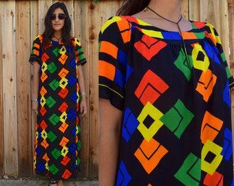 Vintage 70s Psychedelic CAFTAN MAXI Dress M L