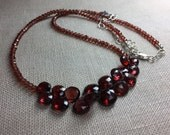 Garnet Necklace with Briolettes in Sterling Silver