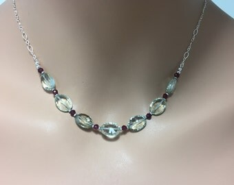 Green Amethyst and Rhodolite Garnet Necklace in Sterling Silver