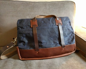 The Friday Harbor - Waxed Canvas and Horween Leather Carryall Bag with Adjustable Shoulder Strap -