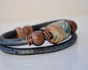 Boro Glass Bead Leather Bracelet Small BebesGlassBeads Magnetic Clasp #11