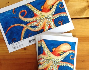 6 blank cards - Octopus
