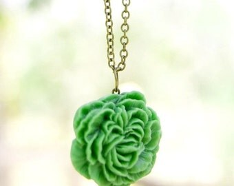 SALE Apple Green Peony Flower Necklace // Bridesmaid Gifts // Bridesmaid Necklace // Rustic Wedding