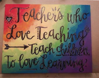 Artwork for classroom, teacher gift, thank a teacher.