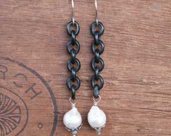 Antique Assemblage Earrings with Gutta Percha Chain and Kasumi-like Pearls