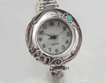 925 Silver Opal Bracelet Watch, Israel Original Handmade Fine Silver Opal Bracelet Watch, Opal Jewelry, Round watch, Fine Watch