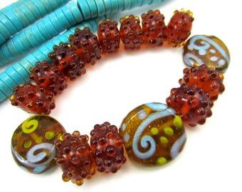 15 Honey brown Lampwork bead set handmade glass beads brown bracelet strand jewelry supplies bumpie handmade lampwork beads (SB1),
