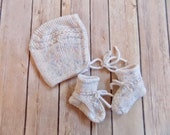 Baby Bonnet and Booties Set, Knit Newborn Bonnet, White Baby Bonnet, Knit Baby Hat, Baby Shower Gift