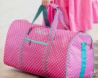 Monogramed Hot Pink Polka Dot Bag Trimmed in Mint Duffle Bag; Great Birthday or Baby Gift