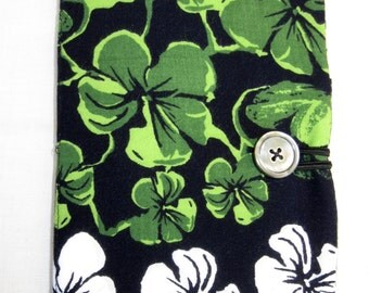 E-reader cover, Samsung Galaxy Tablet 4 Nook, Kindle Fire, repurposed fabric, green, flowers