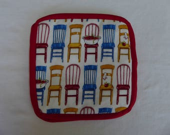 Pot holders, chairs, retro theme,  primary colors