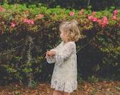 Ivory Long sleeve Flower Girl Dresses- Toddler Dress- Vintage Lace dress- Rustic Girls Dress- Baby Lace Dress- Junior Bridesmaid