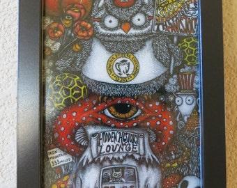 Hidden History Pointillism Owls Mushrooms Framed Print of Conspiracy Art Pen & Ink by Kelly Green HBaum