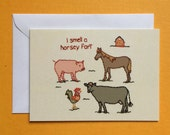 Horsey Fart Embroidery Greeting Card