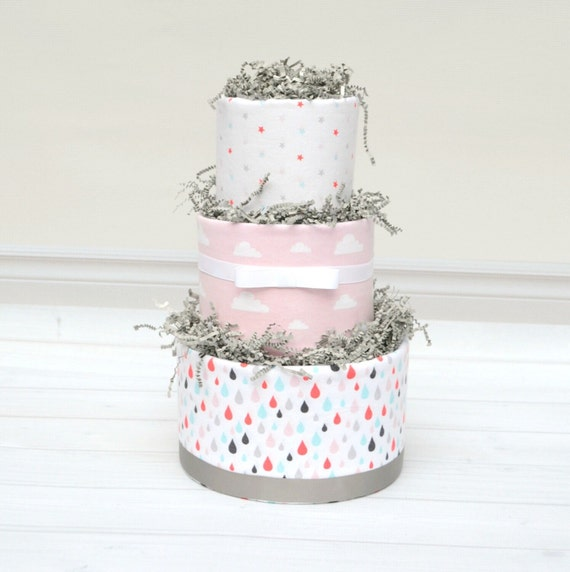 Baby Sprinkle Gift, Sprinkle Shower Gift, Baby Sprinkle Shower Decorations, Pink and Gray Diaper Cake, Rain Baby Shower, Cloud Shower Decor