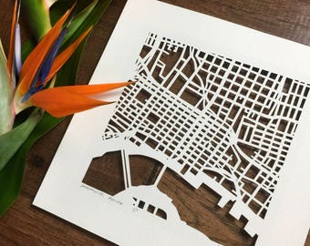 Jacksonville hand cut map ORIGINAL, 10x10