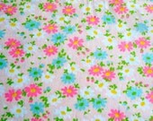 RESERVED ... Vintage Flannel Fabric - Mod Turquoise and Pink Daisies - 34 X 45