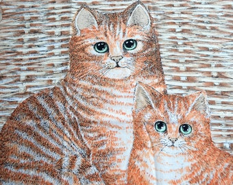 Vintage Cat Fabric - Orange Tabby Mother and Kitten - Pillow Panel