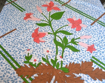 Vintage Bed Sheet - Pink Lily and Autumn Leaves - Full Flat - Large Print