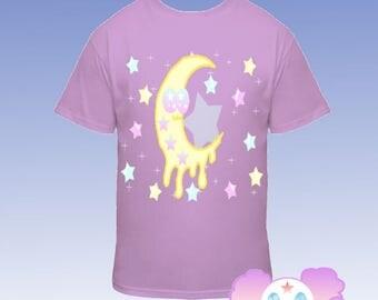 Kawaii Fairy Kei Smiling Moon T Shirt Melting Moon Pastel T-shirt Star
