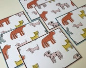 Cartoon Dog Puppy Stationery with Coordinating Envelopes - Set of 6 - Handmade Set of Notecards