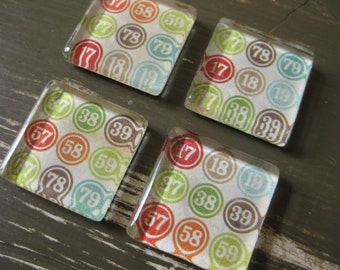 Bingo Numbers - square glass magnets - set of 4