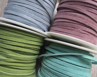 1 yard OR 2 yard Pastel Sample pack, 3mm Suede Made in the USA, Mix of Suede lace, Suede, Suede, leather lace, real suede, leather lace