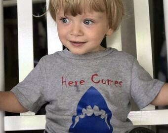 Shark Toddler Shirt/ Summer Shirt / Toddler Shirts/ Sharks/ Beach Shirt/ Vinyl T- Shirts/ Trouble Maker Shirt/ Toddler Boy Shirt/ Jaws