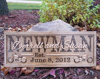 Personalized Motorcycle Wedding Gift Family Name Sign CARVED Custom Wooden Sign Last name Established Anniversary Harley Biker Sign Bar Sign