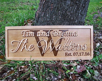 Personalized Wedding Gift Personalized Family Name Signs 3D CARVED Custom Wood Last Name Sign lovejoystore Established initial monogram sign