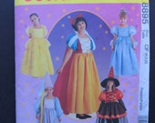 McCalls 8895/Uncut Sewing Pattern/Children's Costumes/Girls Storybook Costumes/Size 4-5-6/Snow White/Cinderella/Belle/1997