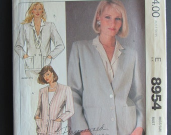McCalls 8954/Uncut Sewing Pattern/Misses Size 14 Jacket/Optional Lining/Bust 36/1984