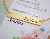 Mom Necklace Mother of the bride gift name bar Necklace Personalized necklace Mother day Gift for her Personalized jewelry Mother jewelry