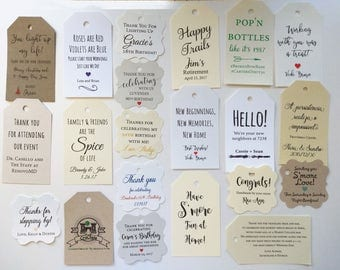 Custom Favor Tags, Wedding Favors, Engagement Favor Tags, Gift Tags, BirthdayFavors, Bridal Shower, Baby Shower Select amount 20-300