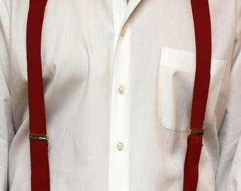 Vintage Red German CAS  Clip on Suspenders