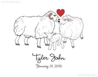 sheep family, personalized art, housewarming gift, engagement, Irish wedding, Scottish clan, sheep nursery,Irish baby shower,Irish kids room