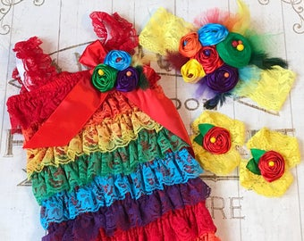 Rainbow Lace Ruffled Romper, Fabric Headband, Barefoot Sandals, First Birthday Outfit Photo Prop, Baby Girl Colorful lace tulle feathers Red