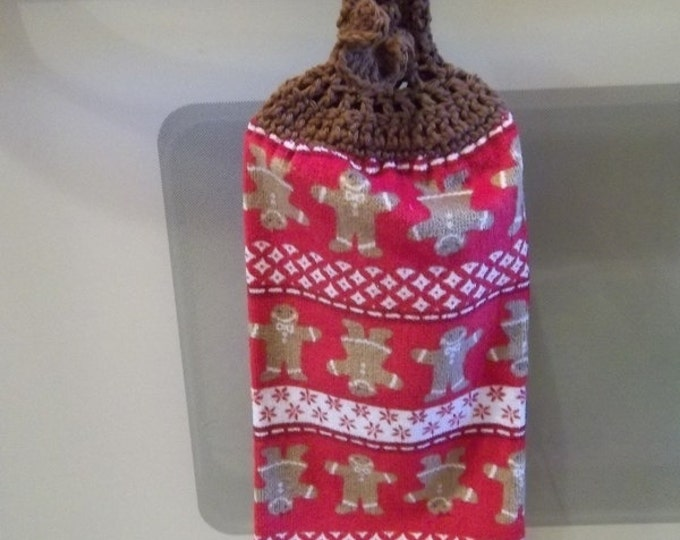 Kitchen Towel - Kitchen Towel with Crochet Towel Topper - Gingerbread Men - Great Decoration for the Kitchen for Christmas