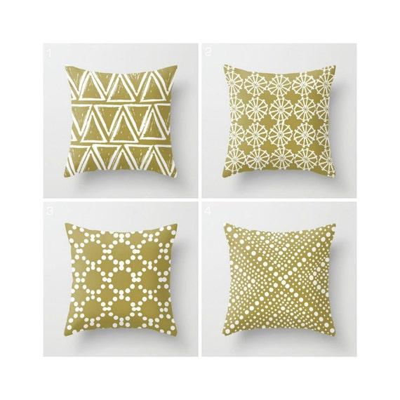 Gold Throw Pillow - Modern Throw Pillows - Geometric Pillow - Gold Cushion - White Triangle - Throw Pillow 16 18 20 24 inch