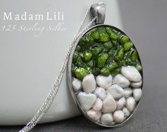 925 Silver Pebble Stone Necklace