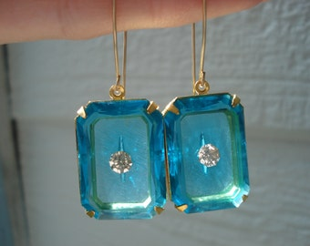 1920's Art Deco Vintage Etched Faceted Czech Blue Turquoise Crystal Glass Gold Earrings