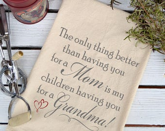 My Mom My Children's Grandma Flour Sack Towel, Feed Sack Towel, Kitchen Towel, Gift for Grandma, Cotton Towel, Dish Towel, Farmhouse Decor