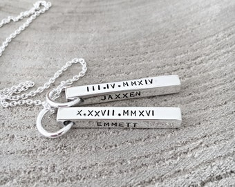 Hand Stamped Jewelry, Mothers Day Necklace, Bar Necklace, Mother Necklace, Roman Numerals Necklace, Hand Stamped Mom, Personalized Jewelry