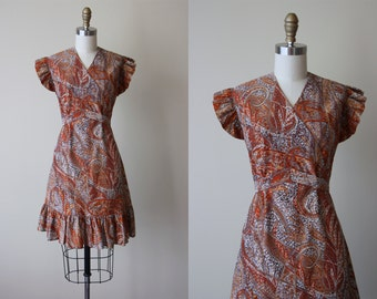 70s Dress - Vintage 1970s Dress - Bronze Grey Metallic Gold Flutter Empire Dress M L - Tatiana Dress