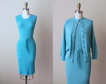 1950s Dress - Vintage 50s Dress - Hen's Egg Blue Wool Knit Sweater and Dress S M - Frostbitten Four-Piece Dress Set