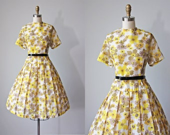 50s Dress - Vintage 1950s Dress - Yellow Floral Print Voile Cotton Full Skirt Dress XL - Lost Lake Dress